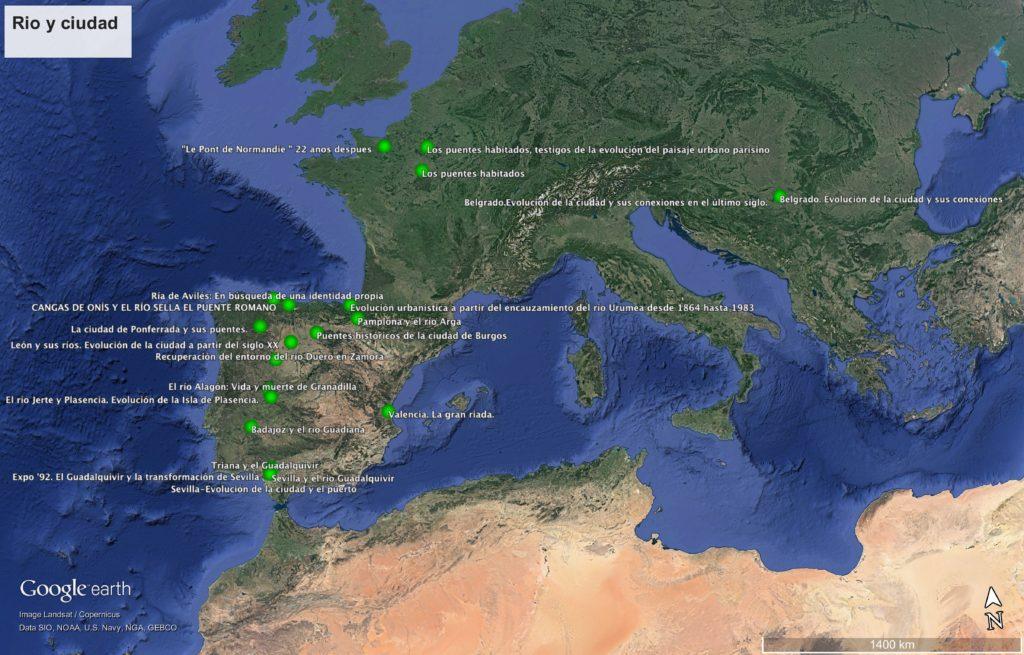 Georreferenciación de los lugares europeos sobre los que se ha trabajado